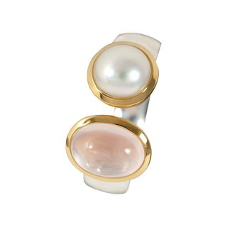 Ring Combi Rose Quartz, Pearl