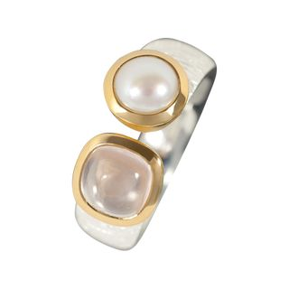 Ring Combi Rose Quarz, Pearl