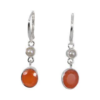Earrings Karneol Pearl