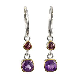 Earrings Amethyst-Rhodolith Granat