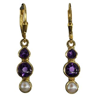 Earrings Pearl Amethyst