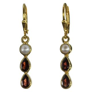 Earrings Pearl Garnet
