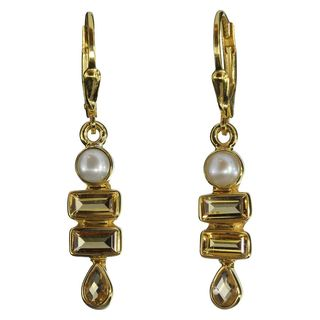 Earrings Pearl Citrine